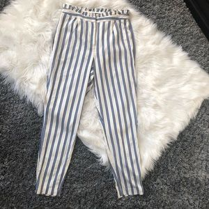 Express pleated striped pants with pockets. 8 Long